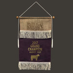 Leatherette burlap overlay banner in plum with gold foil.