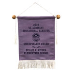 Lilac leatherette banner.