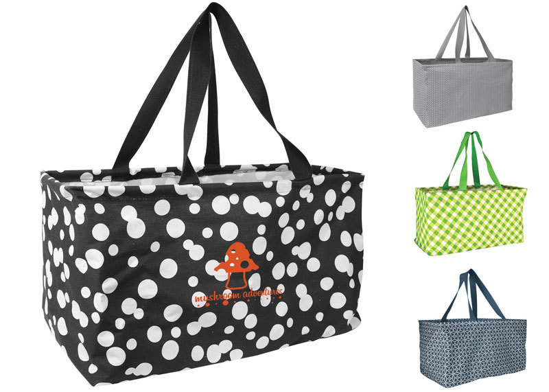 Large printed utility tote.