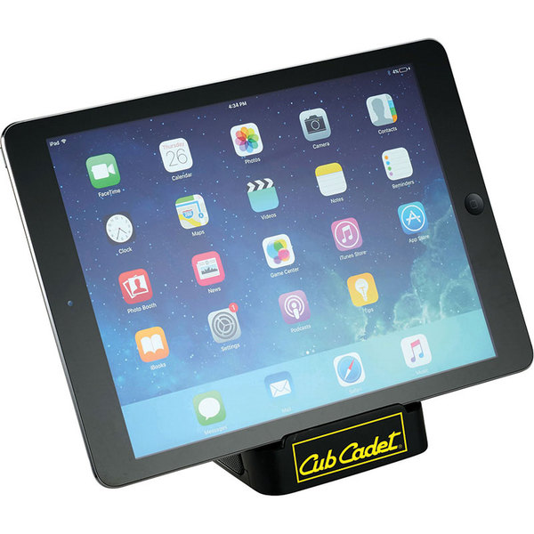 Rumble bluetooth speaker stand with tablet on stand.