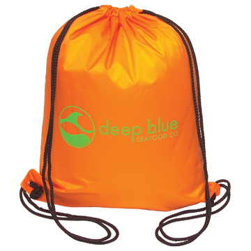 Drawstring backpack safety orange.