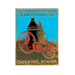 Photo etched lapel pin of carousel power.