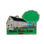 Soft enamel lapel pin of barn.