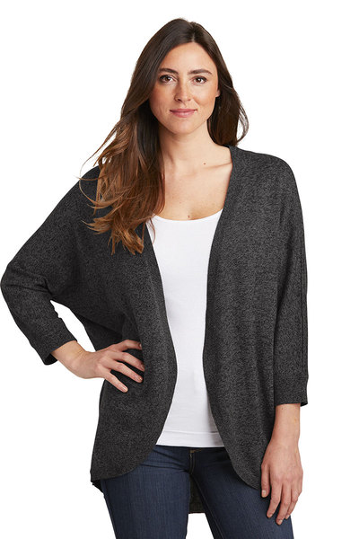 Ladies marled cocoon sweater in black marl.