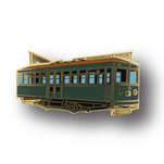 Soft enamel lapel pin of trolley.