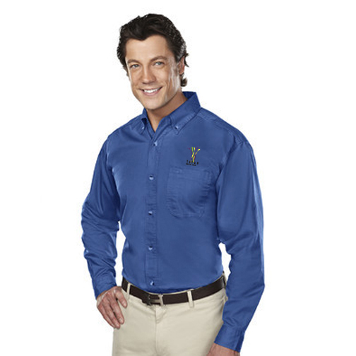 Professional woven button down royal.