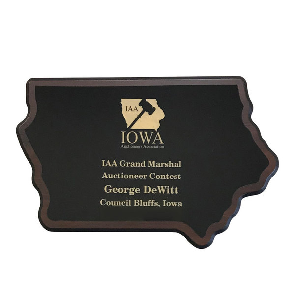 Iowa state shaped plaque.