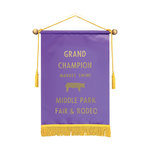 Satin banner 12 by 18 purple.