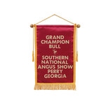 Satin banner with braid 12 by 18 red.