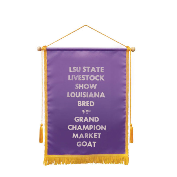 Satin banner with braid 18 by 24 purple.