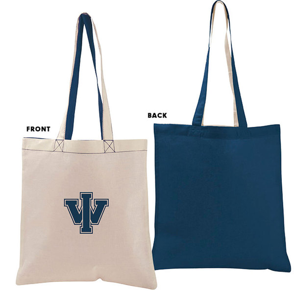 Value economy two-tone tote natural navy.
