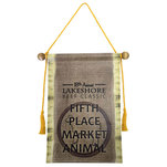 Vinyl banner with burlap design.