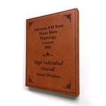 Raw hide leatherette plaque.